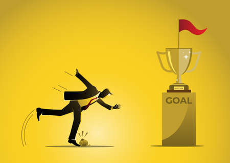 An illustration of a Businessman stumbles close to the goal on yellow background