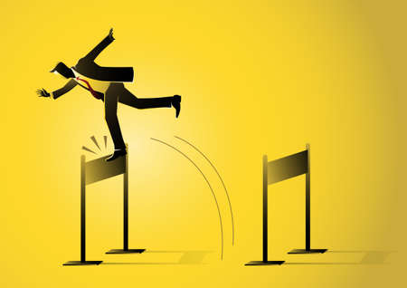 An illustration of a businessman jumping and stumbled onto barrier on yellow background