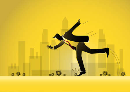 A businessman Falling Stumble Trip Over Stone Around  Virus Stock Illustration