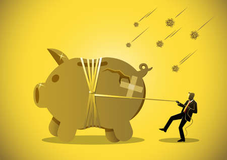 A businessman pulls rope to tide piggy bank around,  virus crisis or savings in pandemic concept