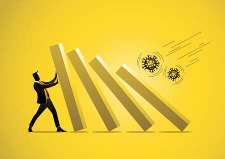 Virus outbreak financial crisis businessman help pushing bar graph falling in economic collapse from   virus stock illustration
