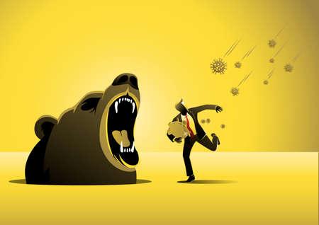 Bear market by Virus pandemic, panic businessman runs away from COVID-19 virus pathogens instead meet with bear fangs.