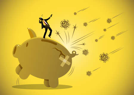 Economic impact of virus, financial crisis and economic recession concept, scared man and a big cracked piggy bank Иллюстрация