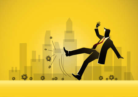 An Illustration of a businessman slipping on   virus and falling down