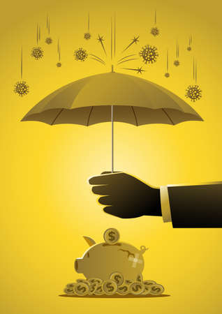 A businessman held an umbrella to protect piggy bank from the virus. Saving money concept stock illustration