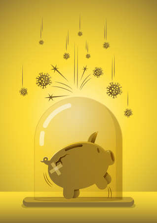 Financial or investment immune to  virus crisis or savings in pandemic concept, healthy and happy piggy bank standing in cover glass protect and immune from virus. Иллюстрация