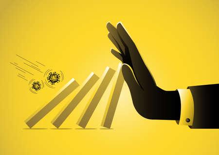 Big hand of businessman help pushing bar graph falling in economic collapse from COVID-19 virus stock illustration Иллюстрация