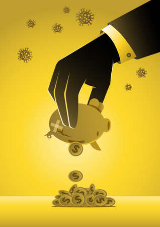 An illustration of businessman's hand shaking piggy bank. Economic impact of virus, financial crisis and economic recession concept