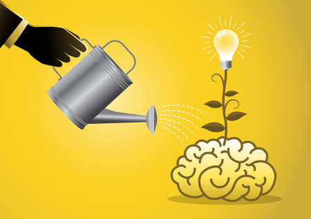 An illustration of a businessman watering ideas on a brain on yellow background Иллюстрация