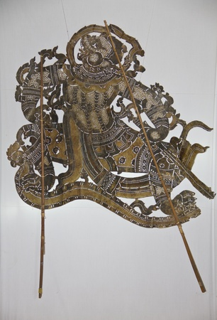 The puppet was made of cowhide depicting one of characters from Ramayana photo