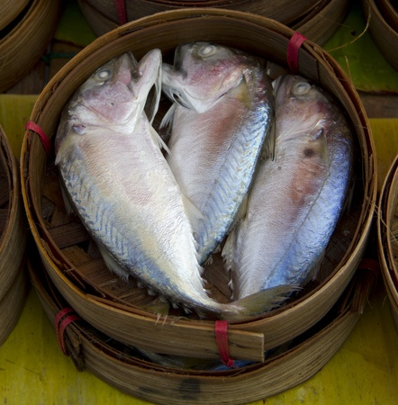 Mackerel Fish in Bamboo Basket Stock Photo - 13731665