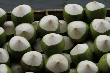 Set of Fresh Green Coconuts  photo
