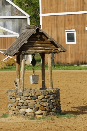 Water well with bucket photo