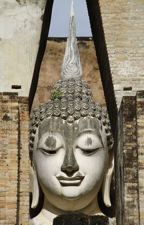 ancient buddha image statue at  Wat Sri Chum  Sukhothai historical park Sukhothai province Thailand  photo