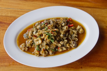 Thai food,Spicy fried oysters  photo