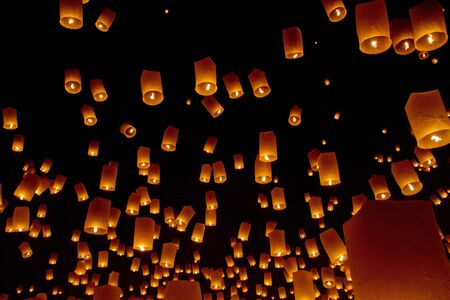 Sky lanterns fireworks Stock Photo