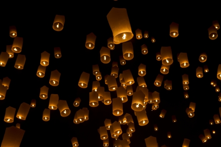 Sky lanterns fireworks Stock Photo