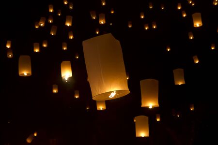 Sky lanterns firework Stock Photo