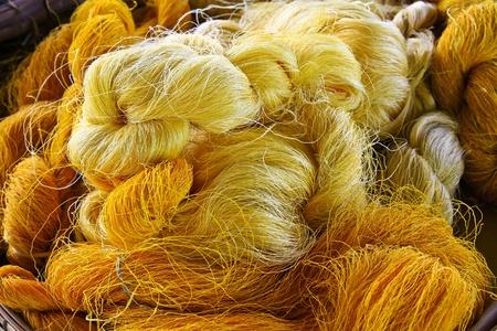 Hand made raw silk thread Stock Photo