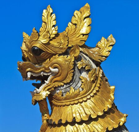 Animal sculptures like Lion for protect thai temple  photo