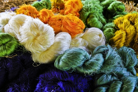 Different Color of Silk Threads Stock Photo