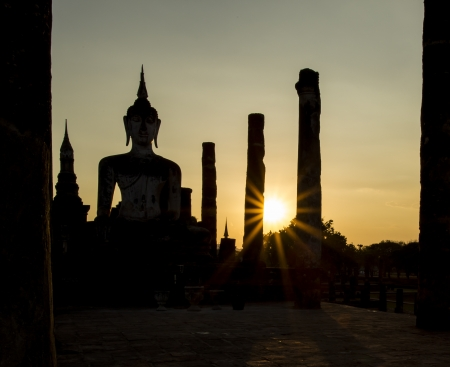 Silhouette Twilight Buddha Statue photo