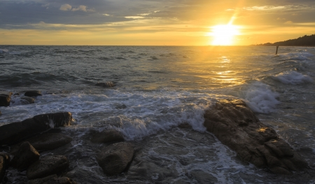 Beautiful sunset and sea waves of the natural Stock Photo - 20951149