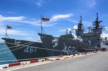 a battleship: Battleship docked at the harbor