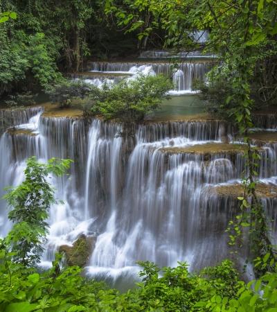 風景秀麗的Huay美卡明瀑布國家公園北碧省,泰國 版權商用圖片