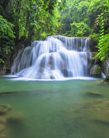 Beautiful scenery Huay Mae Kamin waterfall National Park Kanchanaburi province,Thailand  photo