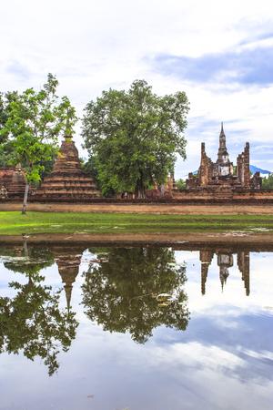 historical reflections: Reflections Beautiful scenery  of Mahathat Temple, Sukhothai Historical Park, Sukhothai Province, Thailand