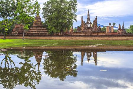 historical reflections: Reflections Beautiful views  of Mahathat Temple, Sukhothai Historical Park, Sukhothai Province, Thailand