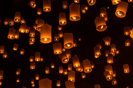 Floating Lantern on Yee Peng festival, thai lanna traditional religion in northern thailand Stock Photo