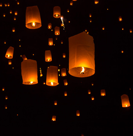 Floating Lantern on Yee Peng festival, thai lanna traditional religion in northern thailand,It seems the stars in the sky  photo