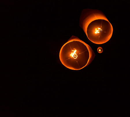 Floating Lantern on Yee Peng festival, thai lanna traditional religion in northern thailand photo