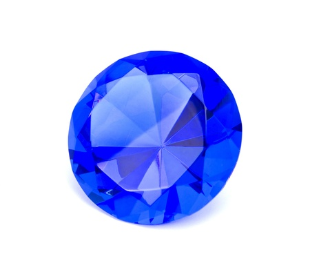 fake diamond: Blue sapphire gemstone isolated
