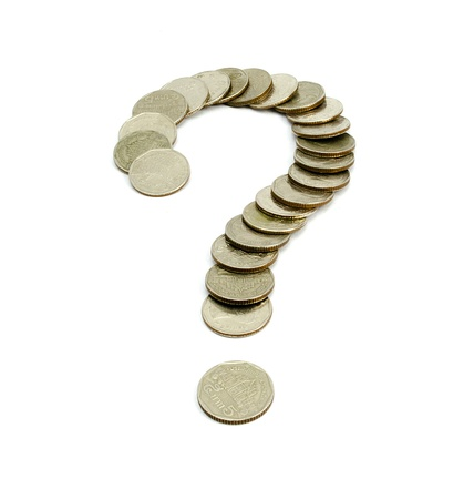 Coins baht thailand Question Mark isolated on white background nice photo