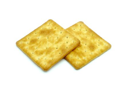 Crackers isolated on white Palatable Stock Photo - 14414100