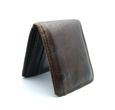 old leather wallet isolate on white background photo