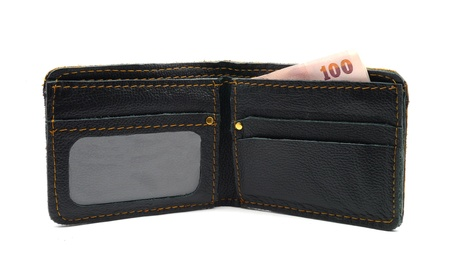 leather wallet with money isolate on white background Stock Photo