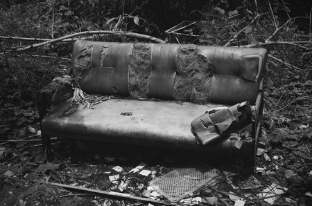 Old broken sofa  photo