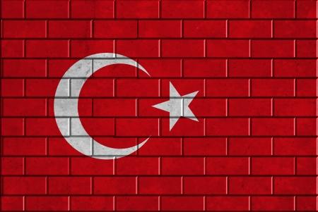 Turkey flag on brick wall photo
