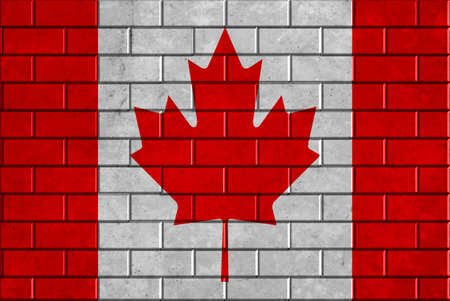 Canada flag brick wall background photo