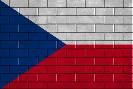 Czech Republic flag painted on a brick wall photo