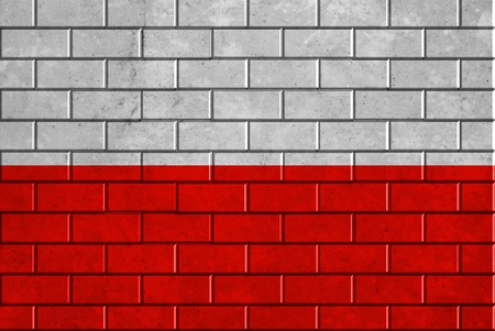 Poland flag painted on a brick wall photo