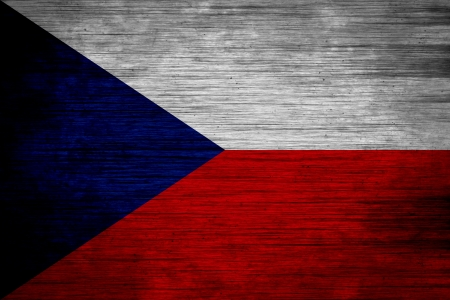Czech Republic flag on wood texture photo