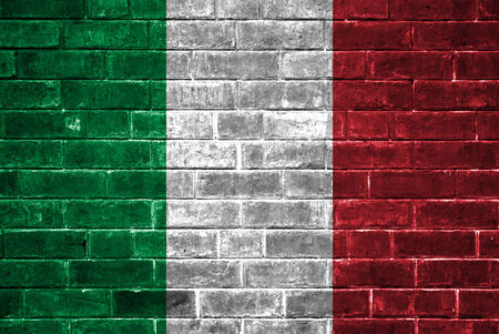 Italy flag on a brick wall photo