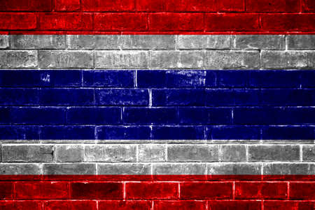 Thailand flag painted on old brick wall texture  photo