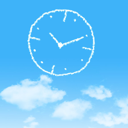 timekeeping: cloud icon with design on blue sky background