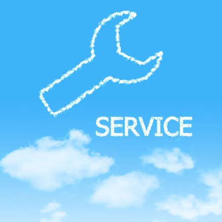 cloud icon with design on blue sky background photo